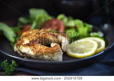 fried northern pike steaks with lemon lettuce salad and tomatoes on a black plate healthy low carb meal against a dark background close up selected focus very narrow depth of field