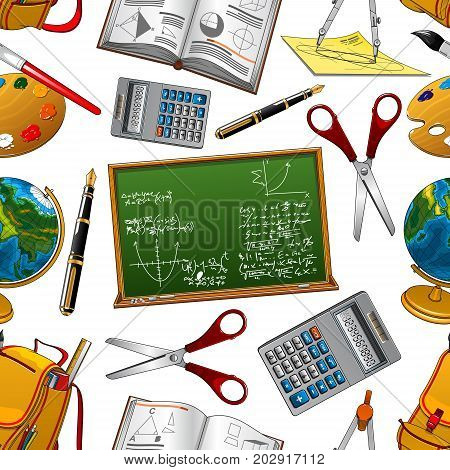 Back to School seamless pattern of school blackboard, calculator or scissors and rucksack. Vector lessons study supplies of geography globe, mathematics compass or pen and books with geometry ruler