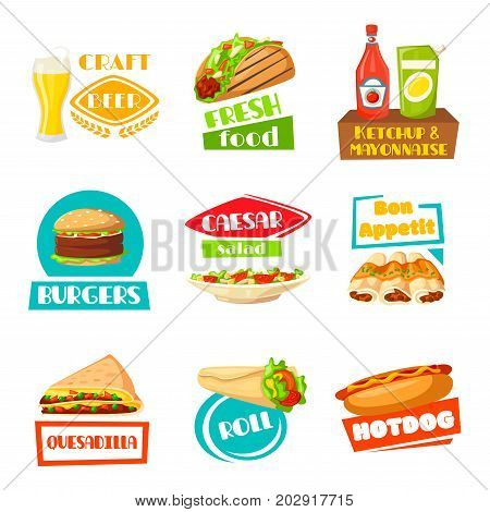 fast food meals icons vector photo free trial bigstock