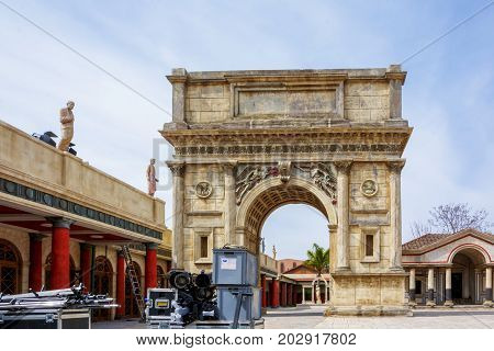 Rome Italy april 1st 2017: ancient arch reproduced in fiberglass for HBO