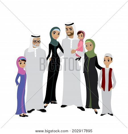 Happy Muslim Arabic Family Isolated On White Background In Flat