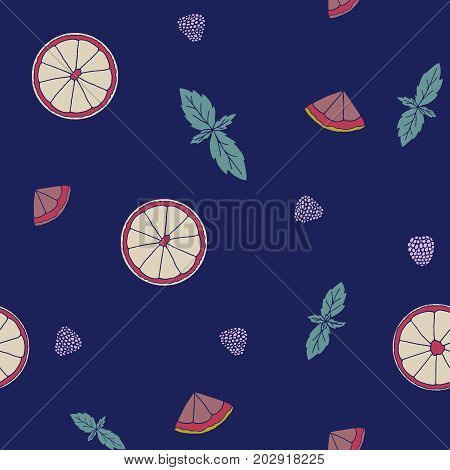 Seamless pattern with orange lemon slices mint berries. Hand drawn fruits print on a white background. Light delicate and airy.