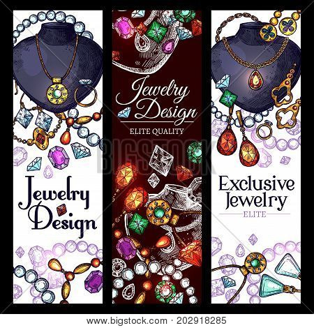 Jewelry fashion accessories design banners. Vector set of gemstones and gold or silver bijou, exclusive diamond wedding golden rings or luxury earrings, necklace chain, brooch and heart pendants