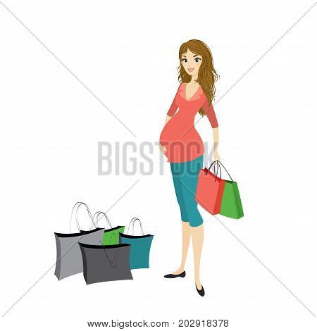 Beauty Pregnancy Woman With Shopping Bags