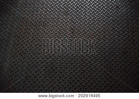 Shiny Old Grunge Metal Steel Pavement Plate Pattern From A Manhole Cover