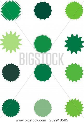 Set of starburst, sunburst badges, labels, stickers. Different shades of green color. Simple flat style. Vintage, retro. Design elements. A collection of different types icon. Vector illustration
