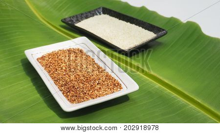 White sesame seed roasted and before in ceramic black plate and roasted in white plate on background banana leaf green color.