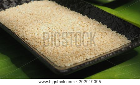 White sesame seed in ceramic black plate on background banana leaf green color and extra close up and zoom in macro photo focus select at center of picture