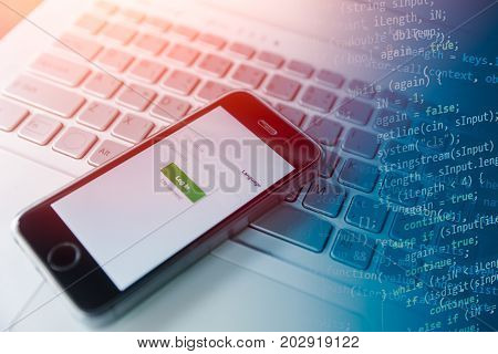 mobile app programing on smartphone concept learning programming application concept