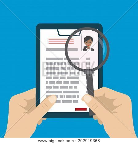 Human resources management concept searching professional staff work analyzing resume with magnifier.Cartoon Vector illustration flat design