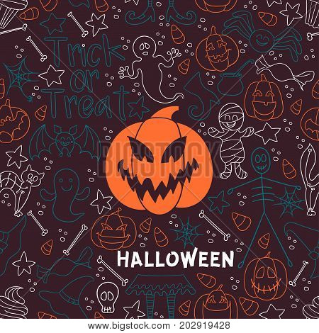 Dark Halloween vector seamless pattern. Endless line texture for wallpaper, web page background, wrapping paper, textile print. Flat style.