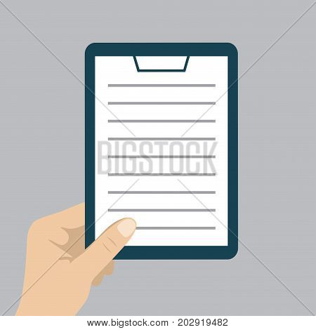 Document In Hand. Vector