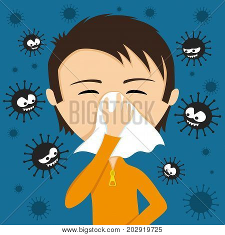 A child sneezes into a handkerchief and viruses around.