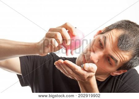 Man With Money Box Pig With Coins