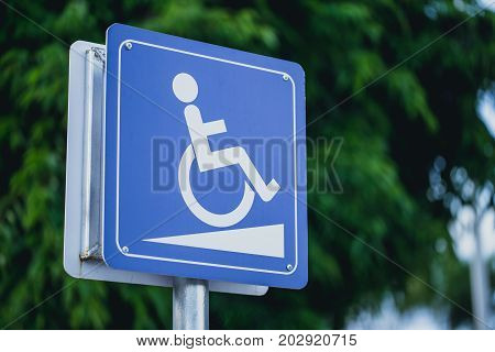 Disabled People Wheelchair Slope Way Sign For Handicap Support