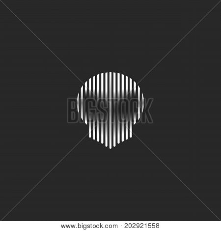 Skull Logo Striped Style Grunge Illustration Spirit Shadow. Black And White Thin Lines Phantom Head