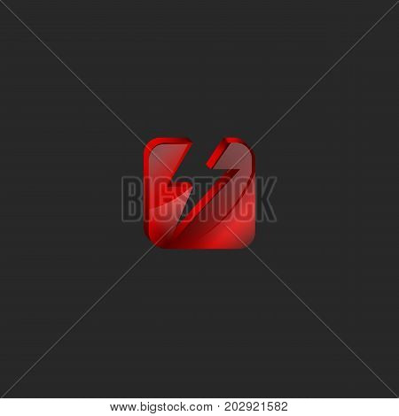 Square 3D Logo In Red Glass Or Shiny Gem Broken Into Two Parts In The Form Of Lightning 3D Tech Icon