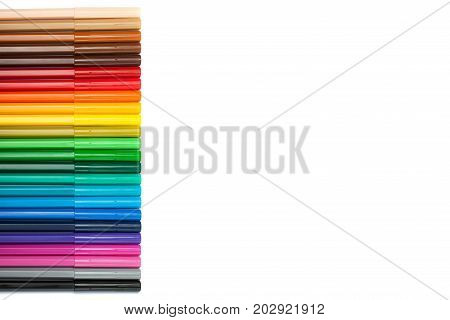Gradient of felt-tip pens. A bright picture on the theme of drawing, education, school, creativity. Place for text
