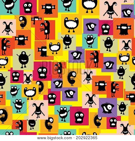 Funny And Crazy Monsters Seamless Pattern