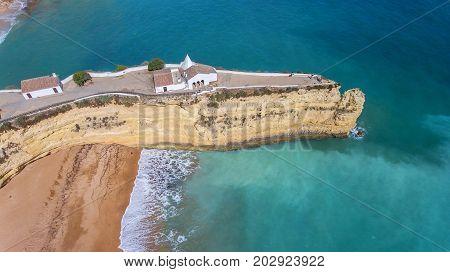 Aerial. Cape Senhora da Rocha on the shore of Aramacao De Pera.