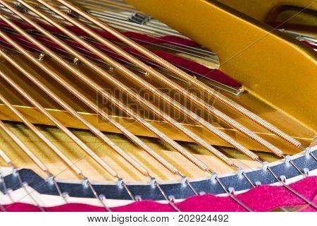 Piano strings. Close-up photo. Musical instruments piano