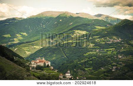 mountain landscape over the Monastero di Sabiona (Säben abbey) - Bressanone - Alto Adige Italy