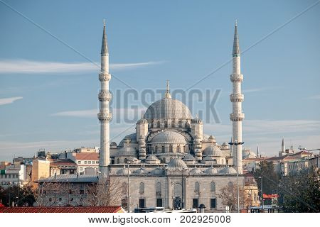 Istanbul. New Mosque (New Valide Sultan Mosque) is situated on the Golden Horn at the end of the Galata Bridge and is one of the famous architectural landmarks of Istanbul. Turkey