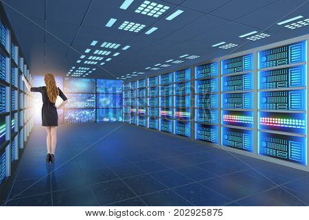 Concept of big data management with businesswoman