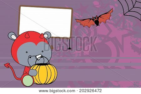 cute baby rhino cartoon halloween costume background in vector format