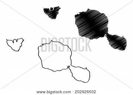 Tahiti island map vector illustration , scribble sketch Tahiti
