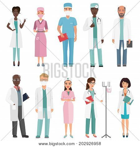 Doctors, nurses and medical staff. Medical team concept in cartoon flat design people character