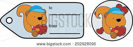 cute baby plush squirrel cartoon love giftcard sticker in vector format very easy to edit