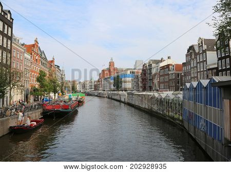 Famous Singel Canal In Amsterdam