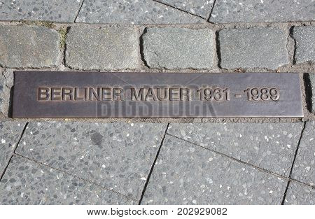 Commemorative Plaque Embedded In The Sidewalks To Indicate The P