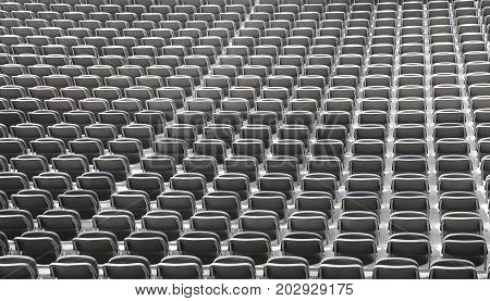 Seats In Stadium Without People Before The Sporting Event