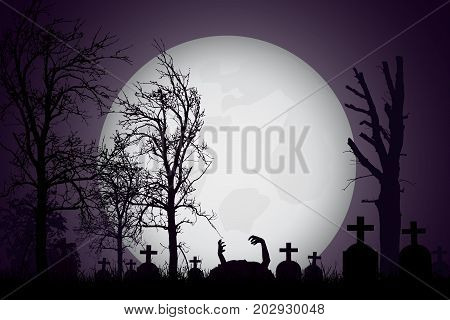 Vector realistic illustration of a haunted cemetery with tombstones and hand zombie cross and trees without leaves under a dramatic sky with moon