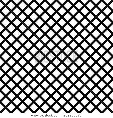 Chain-link geometric black on white seamless vector pattern. Waffle texture stencil repeating texture.