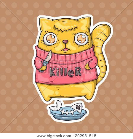 funny cat killer. vector illustration for web and print.