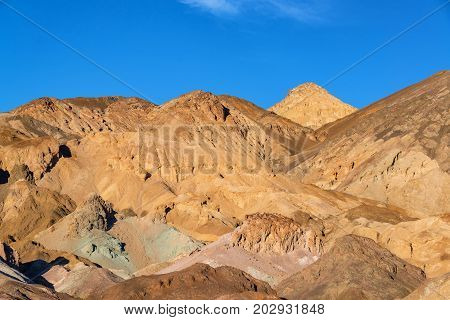 View of colorful hills in Death Valley National Park in California