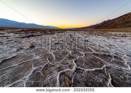 Dramatic view of Badwater Basin in Death Valley National Park in California