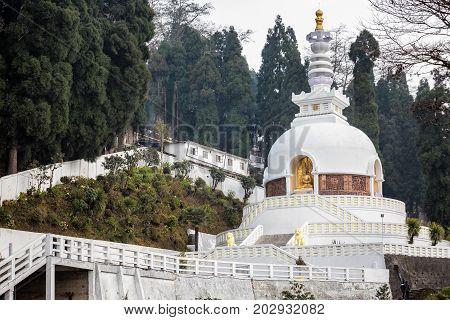 White stupa at Japanese Temple Darjeeling, India.