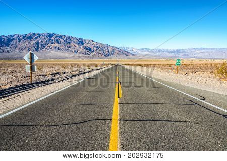 Beautiful view of Highway 190 running through Death Valley National Park in California