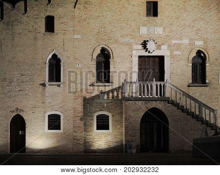 Ancient building in Portogruaro square Venezia Italy