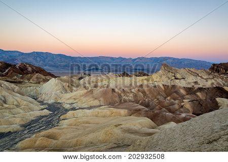 Zabriskie Poin in Death Valley before sunrise in California