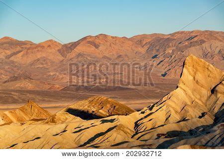 Zabriskie Point in Death Valley National Park at sunrise