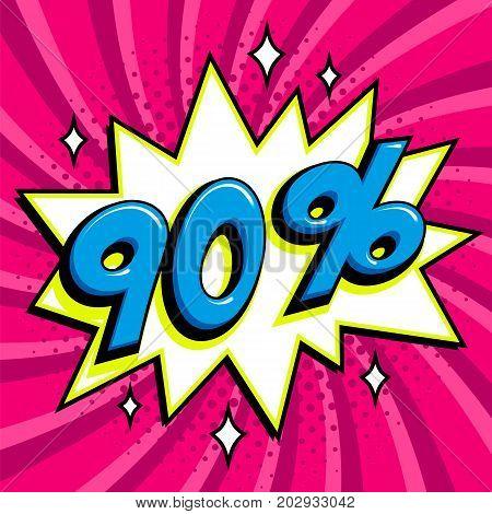 Purple sale web banner. Pop art comic sale discount promotion banner. Big sale background. Sale ninety persent 90 off on a Comics pop-art style bang shape on Purple twisted background. Seasonal discounts, Black Friday, the interest rate, etc. Vector illus
