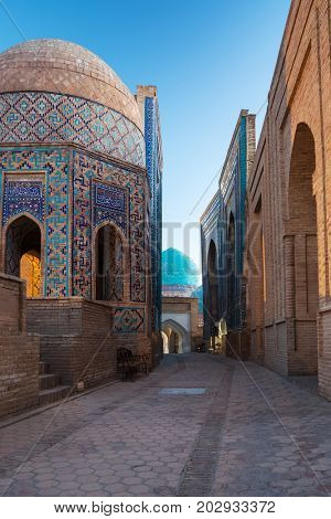 Ancient complex of buildings of Shakh i Zinda in the city of Samarkand, Uzbekistan