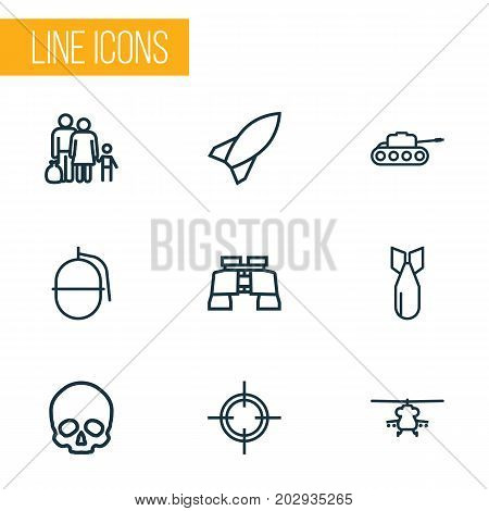 Army Outline Icons Set. Collection Of Fugitive, Cranium, Bomb And Other Elements
