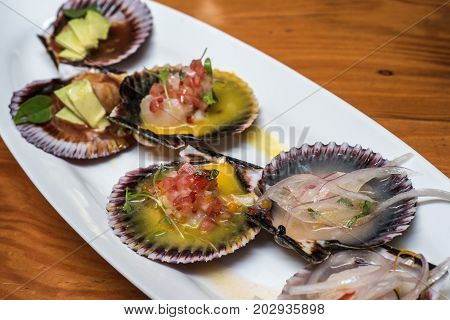 highly detailed image of fresh scallops new peruvian cuisine style