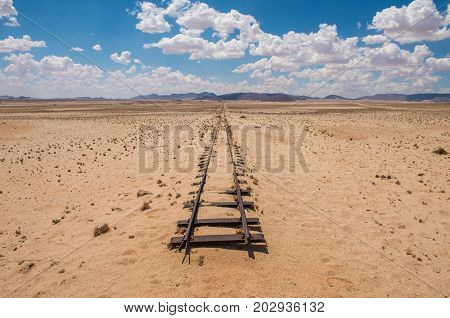 Abandoned railway tracks in the desert Namibia